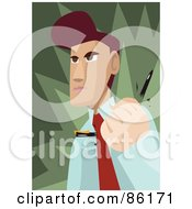 Royalty Free RF Clipart Illustration Of An Angry Brunette Businessman Breaking A Pen In His Hand