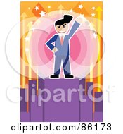 Royalty Free RF Clipart Illustration Of A Victorious Businessman Standing On A Podium