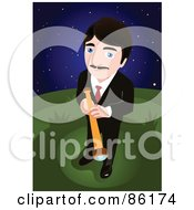 Royalty Free RF Clipart Illustration Of A Businessman Standing Outside At Night Wiith A Telescope