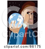 Royalty Free RF Clipart Illustration Of A Brunette Businessman Holding A Blue Globe In His Hand by mayawizard101