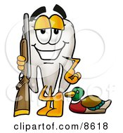 Clipart Picture Of A Tooth Mascot Cartoon Character Duck Hunting Standing With A Rifle And Duck