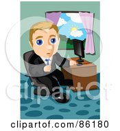 Royalty Free RF Clipart Illustration Of A Blond Businessman Seated At A Computer Desk By A Window