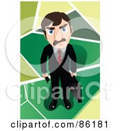 Royalty Free RF Clipart Illustration Of A Mad Businessman Holding A Briefcase And Looking Up by mayawizard101