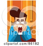 Royalty Free RF Clipart Illustration Of A Frustrated Business Man Screaming Under Orange Arrows