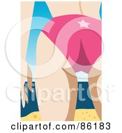 Royalty Free RF Clipart Illustration Of A Closeup Of A Womans Butt In A Pink Bikini On A Beach by mayawizard101