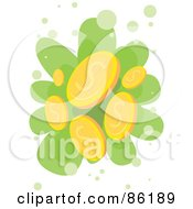Royalty Free RF Clipart Illustration Of Golden Coins Falling
