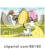 Royalty Free RF Clipart Illustration Of A Golden Coin Walking Wth A Sack