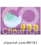Royalty Free RF Clipart Illustration Of Golden Dollar Eggs Following A Blue Hen