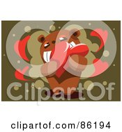 Royalty Free RF Clipart Illustration Of An Amorous Bear Grinning And Hugging A Heart by mayawizard101