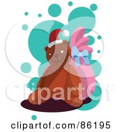 Royalty Free RF Clipart Illustration Of A Christmas Teddy Bear Wearing A Santa Hat And Propped Against A Pink Sack