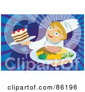 Royalty Free RF Clipart Illustration Of A Happy Chef Serving A Meal And Dessert by mayawizard101