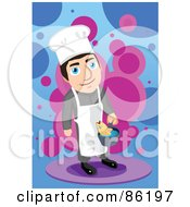 Royalty Free RF Clipart Illustration Of A Chef Cooking Fish In A Pot by mayawizard101