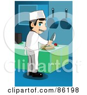 Royalty Free RF Clipart Illustration Of A Male Chef Looking Back While Chopping Veggies On A Cutting Board