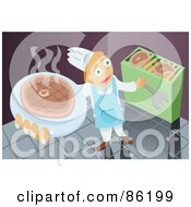 Royalty Free RF Clipart Illustration Of A Chef Cooking And Serving Steak by mayawizard101
