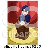 Royalty Free RF Clipart Illustration Of A Police Officer Giving A Speech And Standing At A Podium On A Stage by mayawizard101