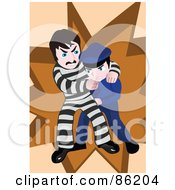 Royalty Free RF Clipart Illustration Of A Police Offer Wrestling With A Prisoner by mayawizard101