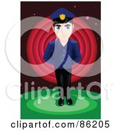 Royalty Free RF Clipart Illustration Of A Young Police Offer Standing With His Hands Behind His Back by mayawizard101