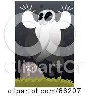 Royalty Free RF Clipart Illustration Of A Spooky Ghost Over A Headstone by mayawizard101