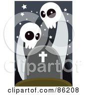 Royalty Free RF Clipart Illustration Of Two Spooky Ghosts Over A Headstone by mayawizard101