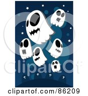Royalty Free RF Clipart Illustration Of Floating Spooky Ghosts Over A Cemetery by mayawizard101