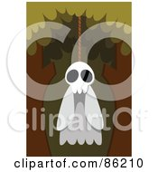 Royalty Free RF Clipart Illustration Of A Spooky Ghost Hanging From A Tree by mayawizard101