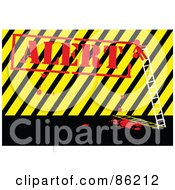 Royalty Free RF Clipart Illustration Of A Red Person On A Ladder Painting Alert Over Hazard Stripes
