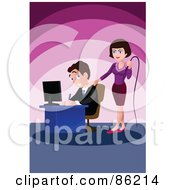 Royalty Free RF Clipart Illustration Of A Tough Businesswoman Holding A Whip And Standing Behind A Male Employee