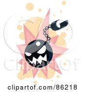Royalty Free RF Clipart Illustration Of A Bad Bomb On A Chain by mayawizard101