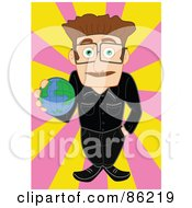 Royalty Free RF Clipart Illustration Of A Geology Teacher Holding A Globe by mayawizard101