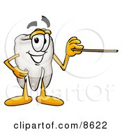 Clipart Picture Of A Tooth Mascot Cartoon Character Holding A Pointer Stick by Toons4Biz