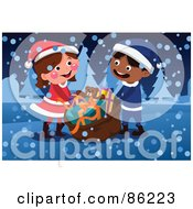 Royalty Free RF Clipart Illustration Of A Boy And Girl Carrying A Cristmas Toy Sack In The Snow by mayawizard101