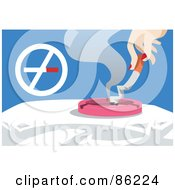 Royalty Free RF Clipart Illustration Of A Womans Hand Putting Out A Cigarette In An Ash Try By A Prohibited Sign