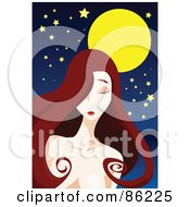 Royalty Free RF Clipart Illustration Of A Woman With Long Brunette Hair Standing Lonely Under A Full Moon