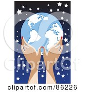 Royalty Free RF Clipart Illustration Of A Womans Hands Holding A Globe Against A Starry Sky by mayawizard101
