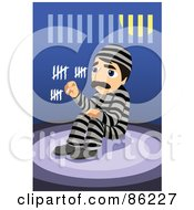 Royalty Free RF Clipart Illustration Of A Bored Man In Prison Counting The Days With Chalk In His Cell