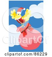 Royalty Free RF Clipart Illustration Of A Yellow Christmas Bird Flying Away With A Sack by mayawizard101