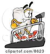 Clipart Picture Of A Tooth Mascot Cartoon Character Walking On A Treadmill In A Fitness Gym by Toons4Biz