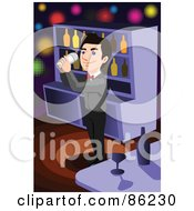 Royalty Free RF Clipart Illustration Of A Happy Bartender Mixing A Drink In A Tumbler