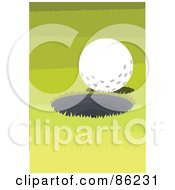 Royalty Free RF Clipart Illustration Of A Golf Ball At The Edge Of A Hole by mayawizard101