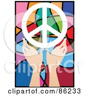 Royalty Free RF Clipart Illustration Of A Pair Of Hands With A Peace Symbol Over Stained Glass by mayawizard101
