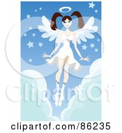 Royalty Free RF Clipart Illustration Of A Brunette Female Angel In A White Dress Hovering Over Clouds With Stars