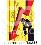 Royalty Free RF Clipart Illustration Of A Silhouetted Businessman Pouting Over Bankruptcy by mayawizard101 #COLLC86236-0158