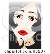 Royalty Free RF Clipart Illustration Of A Womans Face Framed With Black Hair And Red Lips