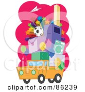 Pile Of Items And Stars On A Truck