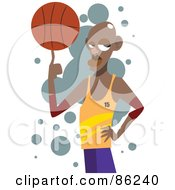 Black Basketball Athlete Twirling A Ball On His Finger