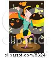 Royalty Free RF Clipart Illustration Of A Brunette Busness Woman Doing A Happy Dance