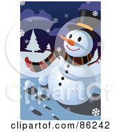Royalty Free RF Clipart Illustration Of A Winter Snowman In A Scarf And Top Hat On A Snowy Night by mayawizard101