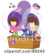 Royalty Free RF Clipart Illustration Of A Man And Woman Trying To Handle Bouncing Phones