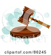 Royalty Free RF Clipart Illustration Of A Gavel Hammer Pounding A Block