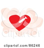 Royalty Free RF Clipart Illustration Of A White Syringe On A Red Heart Over Pink